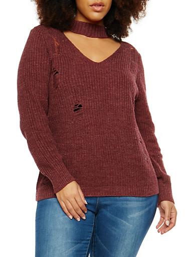 Plus Size Distressed Choker Neck Sweater,WINE,large