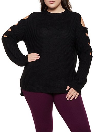 Plus Size Cut Out Sleeve Knit Sweater,BLACK,large