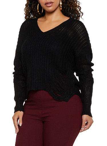 Plus Size Ripped Knit V Neck Sweater,BLACK,large