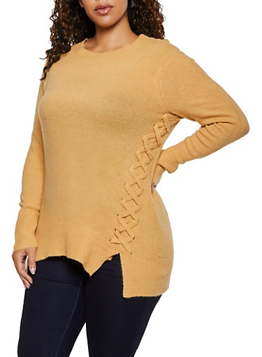 Plus Size Lace Up Tunic Sweater,TAUPE,large