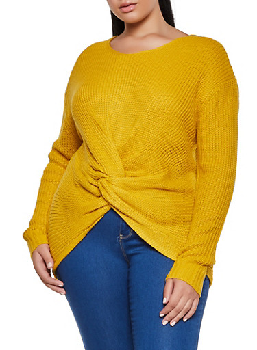 Plus Size Twist Front Knit Sweater,MUSTARD,large
