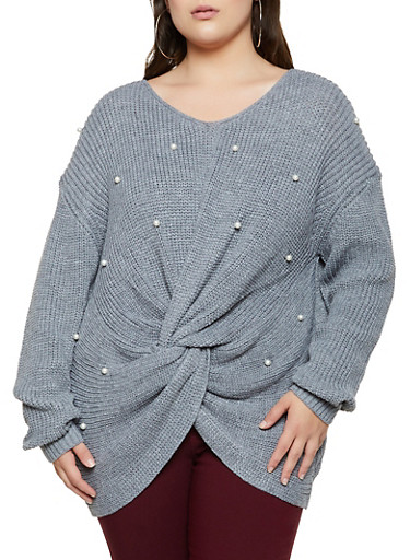 Plus Size Faux Pearl Twist Front Sweater,HEATHER,large