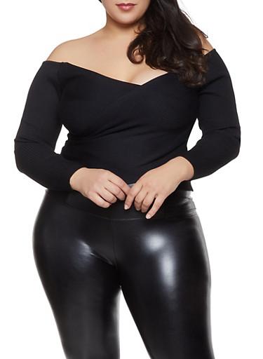 Plus Size Criss Cross Off the Shoulder Sweater,BLACK,large