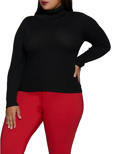 Plus Size Solid Rib Knit Turtleneck Sweater,BLACK,large