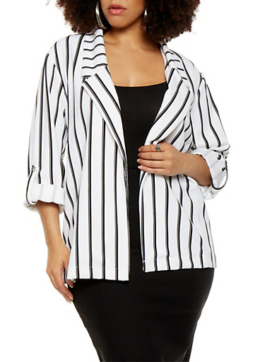 Plus Size Striped Blazer | Tuggl