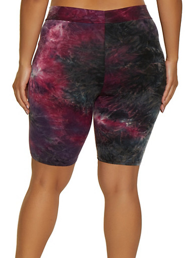 Plus Size Tie Dye Soft Knit Bike Shorts   3927061352488,BURGUNDY,large