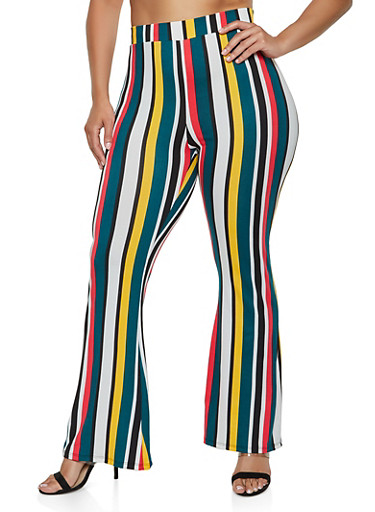 Plus Size Flared Striped Pants by Rainbow