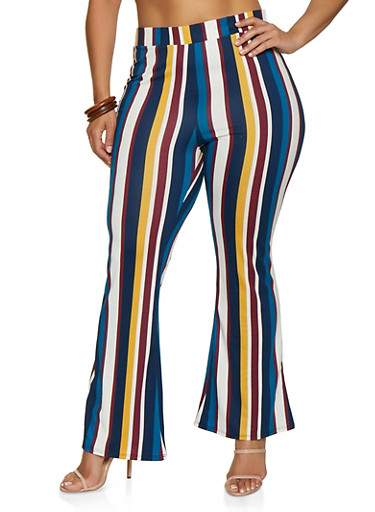 Plus Size Flared Striped Pants,NAVY,large