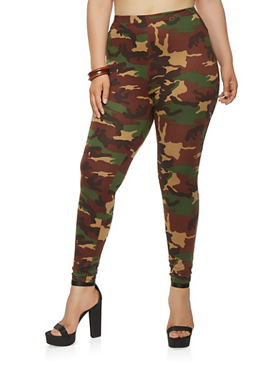 Plus Size Soft Knit Camo Leggings | Tuggl
