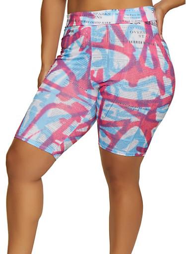 Plus Size Tie Dye Newspaper Print Bike Shorts,FUCHSIA,large