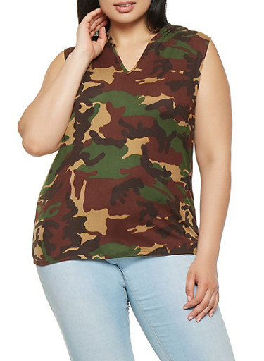 Plus Size Hooded Camo Tank Top,OLIVE,large
