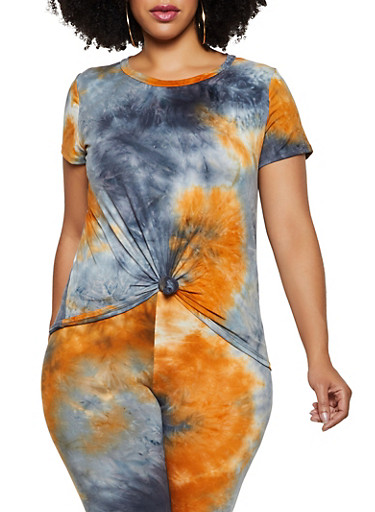 Plus Size Tie Dye Soft Knit Tee | 3927061359899,BLACK,large