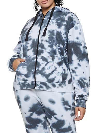 Plus Size Tie Dye Zip Front Sweatshirt,BLACK,large
