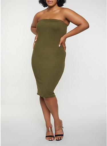 Plus Size Tube Soft Knit Dress