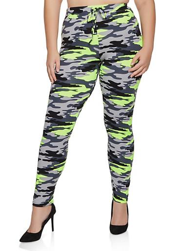 Plus Size Camo Soft Knit Pants,GREEN,large