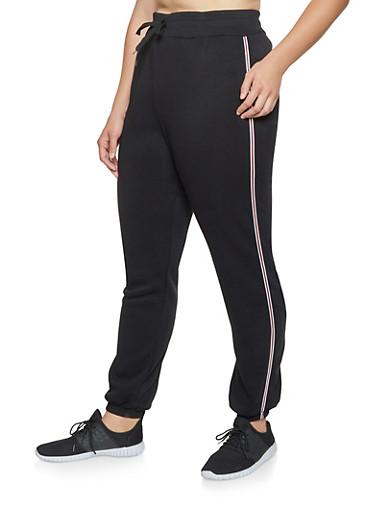 Plus Size Striped Tape Sweatpants,BLACK,large