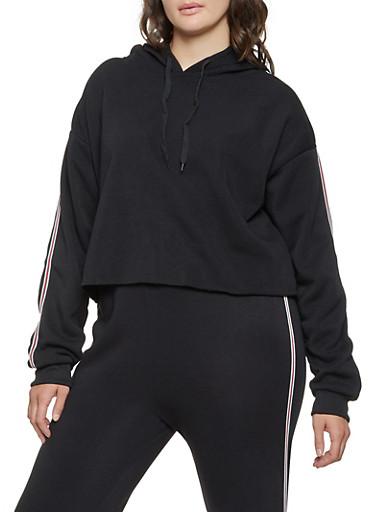 Plus Size Striped Tape Hooded Sweatshirt,BLACK,large