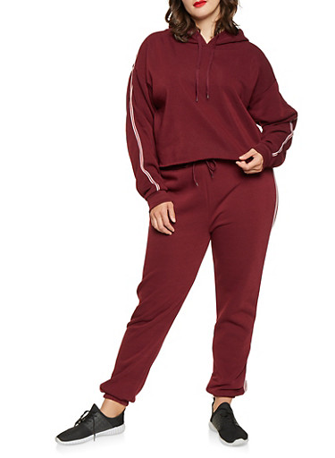 Plus Size Striped Tape Hooded Sweatshirt,WINE,large
