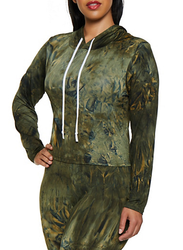 Plus Size Tie Dye Hooded Top,OLIVE,large