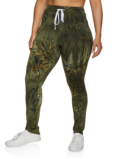 Plus Size Tie Dye Casual Pants,OLIVE,large