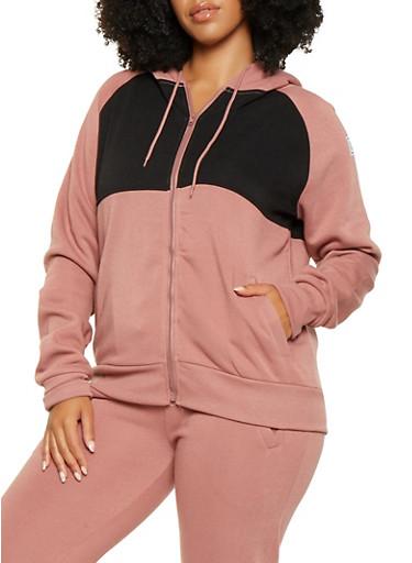 Plus Size Love Graphic Hooded Sweatshirt,MAUVE,large