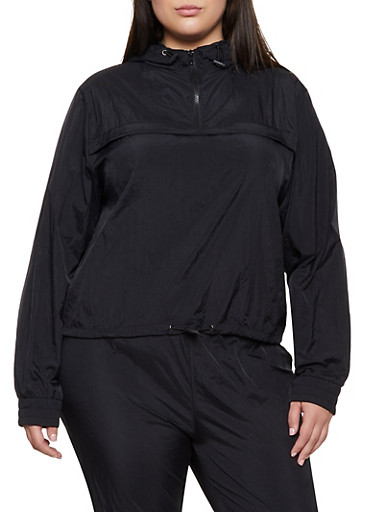 Plus Size Half Zip Hooded Windbreaker,BLACK,large