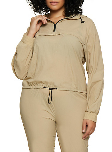Plus Size Half Zip Hooded Windbreaker,TAN,large