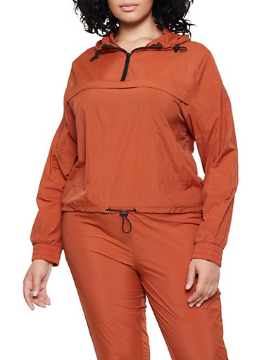 Plus Size Half Zip Hooded Windbreaker,RUST,large