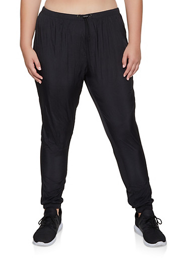 Plus Size Nylon Windbreaker Joggers,BLACK,large