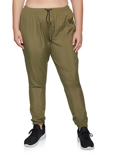 Plus Size Nylon Windbreaker Joggers,OLIVE,large