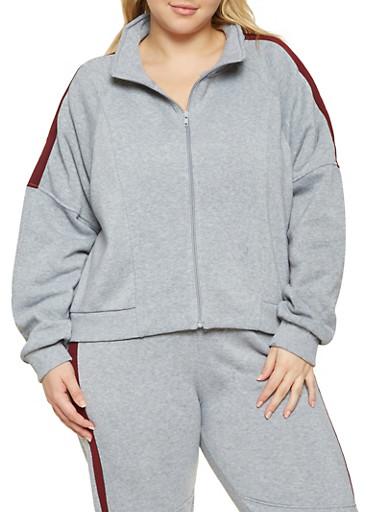 Plus Size Color Block Sweatshirt,HEATHER,large