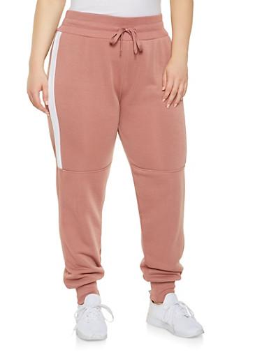 Plus Size Color Block Sweatpants,MAUVE,large