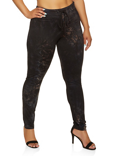 Plus Size Tie Dye Drawstring Waist Leggings,BLACK,large