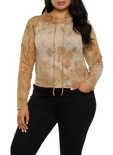 Plus Size Tie Dye Hooded Top | 3927072291114,KHAKI,large