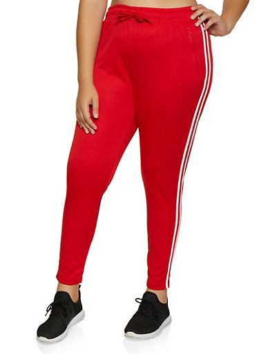 Plus Size Varsity Stripe Pintuck Track Pants,RED,large