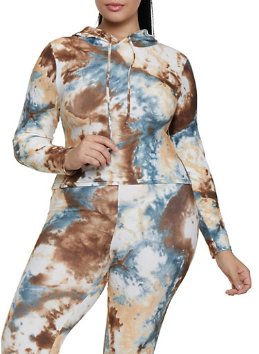 Plus Size Tie Dye Hooded Soft Knit Top,BROWN,large