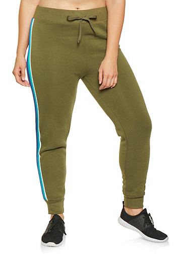 Plus Size Striped Tape Joggers,OLIVE,large