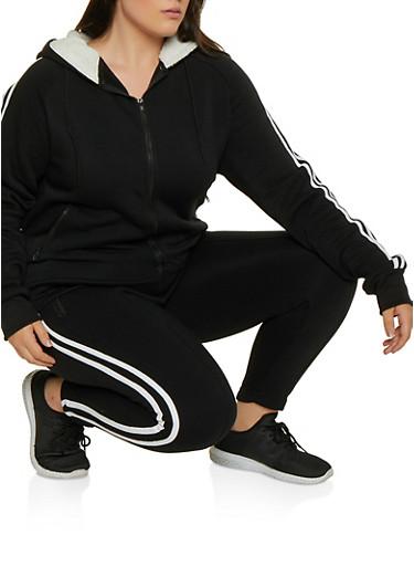 Plus Size Sherpa Lined Hood Zip Sweatshirt,BLACK,large