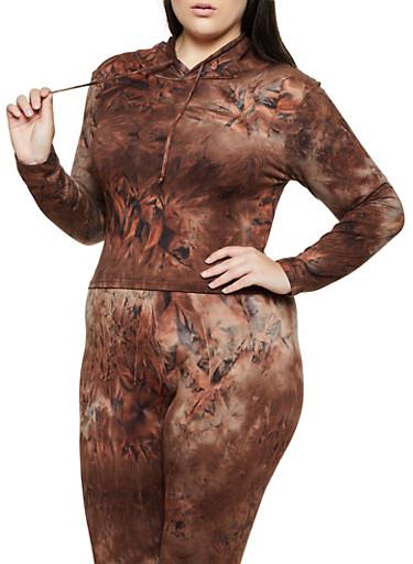 Plus Size Tie Dye Hooded Top | 3927072293333,BROWN,large