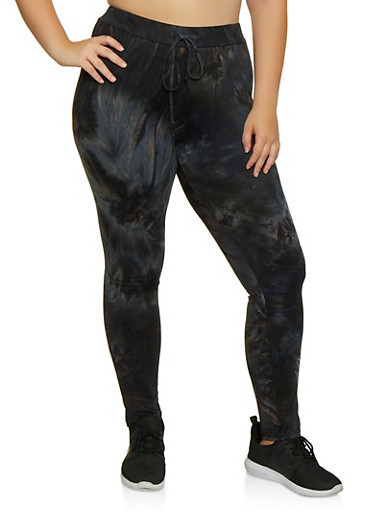 Plus Size Tie Dye Leggings | 3927072293443,BLACK,large