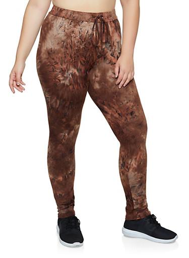 Plus Size Tie Dye Leggings | 3927072293443,BROWN,large