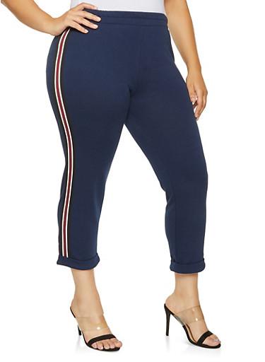 Plus Size Striped Tape Sweatpants,NAVY,large