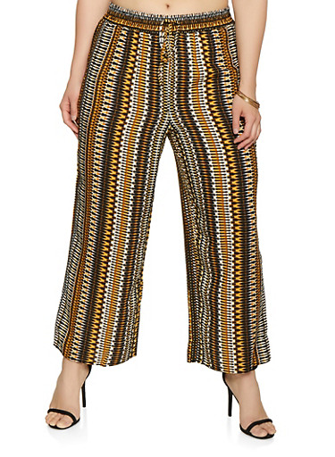 Plus Size Printed Wide Leg Palazzo Pants,BROWN,large