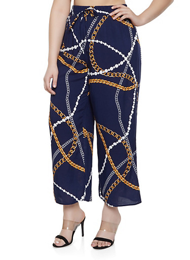 Plus Size Status Print Wide Leg Pants,NAVY,large