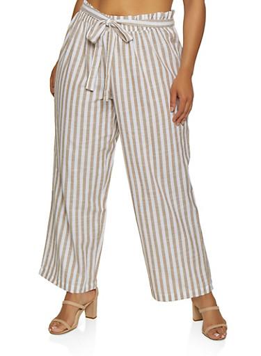 Plus Size Striped Tie Waist Linen Pants,KHAKI,large