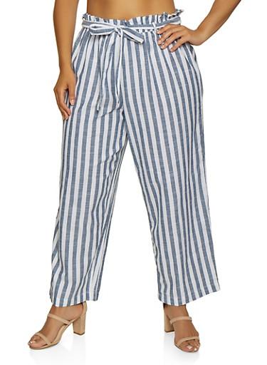 Plus Size Tie Waist Striped Linen Pants,NAVY,large