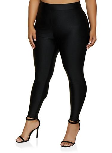 Plus Size Spandex Leggings,BLACK,large