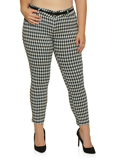 Plus Size Checkered Dress Pants,BLACK/WHITE,large