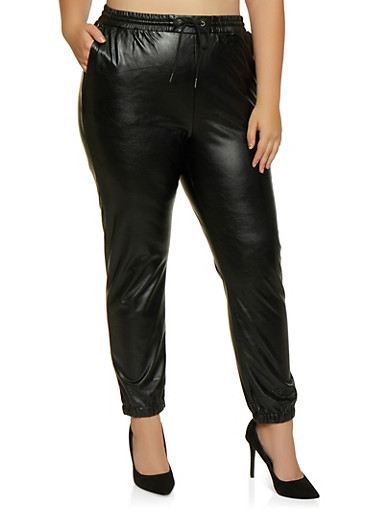 Plus Size Faux Leather Joggers,BLACK,large