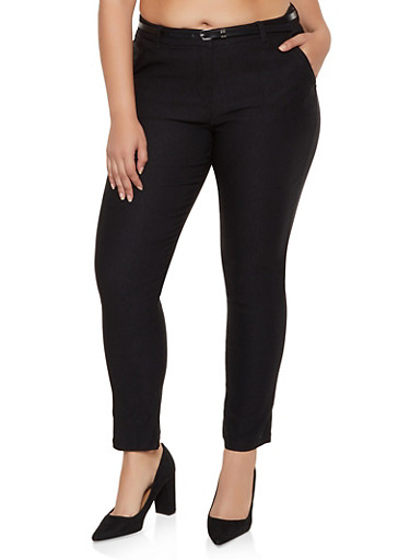 Plus Size Stretch Belted Dress Pants,BLACK,large